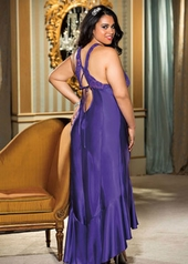 Women's Plus Size Lingerie - Charmeuse & Lace Cut Out Gown #X20530 - Purple $51.75