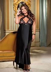 Women's Plus Size Lingerie - Charmeuse & Lace Cut Out Gown #X20530 - Black $51.75