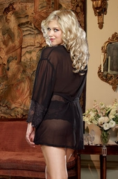 Women's Plus Size Lingerie - Chiffon & Stretch Lace Kimono w/ Panty - #8740X - Black $39