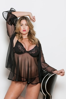 Women's Plus Size Lingerie - Denier Underwire Babydoll 3 Pc Set