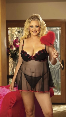Women's Plus Size Lingerie - Heart Embroidery Underwire Babydoll