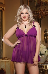 Women's Plus Size Lingerie - Pleated Chiffon Babydoll