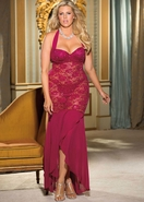 Women's Plus Size Lingerie - Sequined Stretch Lace Underwire Long Gown