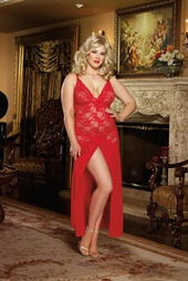Women's Plus Size Lingerie - Stretch Lace and Chiffon Gown Style #8489X - Red $49