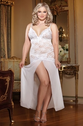 Women's Plus Size Lingerie - Stretch Lace and Chiffon Gown Style #8489X - White $36.75