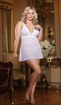 Women's Plus Size Lingerie - Stretch Mesh & Lace Soft Cup Babydoll - NO RETURNS