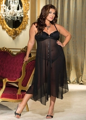 Women's Plus Size Lingerie - Yor-Yu Sparkle Chiffon Underwire Long Gown #X20549