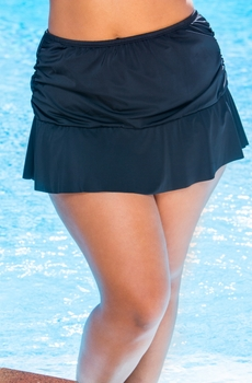 Women's Plus Size Swimwear - 24th & Ocean Separates Frenchie Rouched Skirted Brief - NO RETURNS