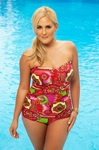 Women's Plus Size Swimwear - Always 4 Me - Carnival Underwire Bandeau Swimsuit  - NO RETURNS