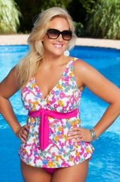Women's Plus Size Swimwear - Always 4 Me - Primrose 2 Pc Tankini w/ Brief