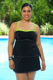 Women's Plus Size Swimwear - Always 4 Me Scuba 2 Piece Skirtini #678 - Black/Green - $34.50