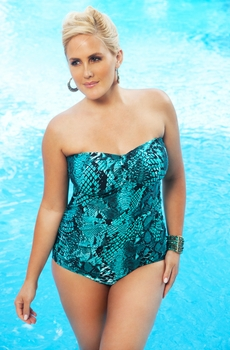 Women's Plus Size Swimwear - Always 4 Me - Serpent  Underwire Bandeau Swimsuit - NO RETURNS