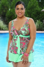 Women's Plus Size Swimwear - Always 4 Me Trinidad 2 Pc Skirtini