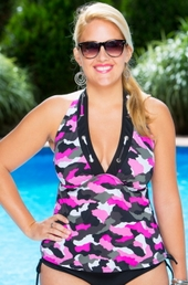 Women's Plus Size Swimwear - Always 4 Me Urban Camo 2 Pc Tankini