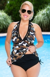 Women's Plus Size Swimwear - Always 4 Me Urban Camo 2 Pc Tankini #887 - $69