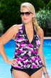 Women's Plus Size Swimwear - Always 4 Me Urban Camo 2 Pc Tankini #887 - Pink $69