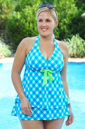 Women's Plus Size Swimwear - Always For Me Chic Prints Gingham Check 2 Pc Skirtini