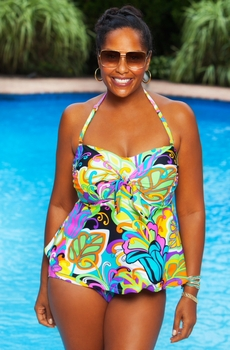 Women's Plus Size Swimwear - Always For Me Chic Prints - Jungle Fever 2 Piece Tankini w/ Brief