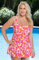 Plus Size Swimwear Always For Me Chic Prints Paradiso Swimdress