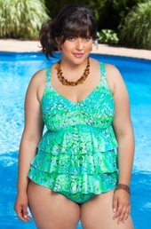 Women's Plus Size Swimwear - Always For Me Chic Prints - Tutti Frutti Tankini