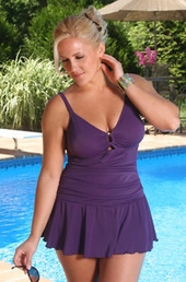 Plus Size Swimwear -  Always For Me Chic Solids Illusion Suit #67165W - Plum $89 - ON SALE $79