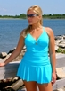 Women's Plus Size Swimwear - Always For Me Chic Solids Illusion Suit Style #67165W - TURQ - $89
