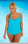 Women's Plus Size Swimwear  - Always For Me Chic Solids - Twist  Bandeau Swimsuit