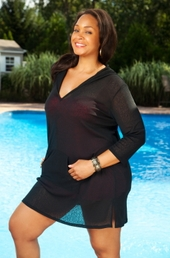 Women's Plus Size Swimwear - Always For Me Cover Onionskin Hooded Tunic #14701 - Black $29.25