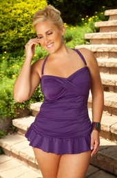 Women's Plus Size Swimwear - Always For Me Chic Solids - Isabella 2 Pc Twist Bandeau Swimsuit - PLUM ON SALE $69