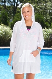 Women's Plus Size Swimwear - Always For Me Cover Onionskin Hooded Tunic