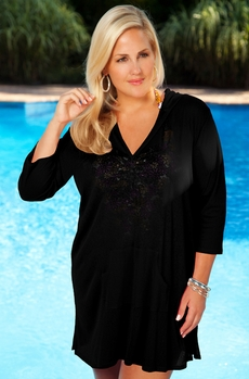 Women's Plus Size Swimwear - Always For Me Cover Onionskin Hooded Tunic - Black