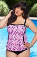 Women's Plus Size Swimwear - Always For Me In Control - 2 Piece Scroll Tankini w/ Brief