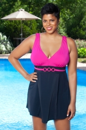 Women's Plus Size Swimwear - Always For Me In Control - Nautical Swimdress - NO RETURNS