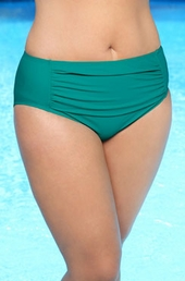 Women's Plus Size Swimwear - Always For Me Separates Ruched Brief #8601 - Jade Green $17.50