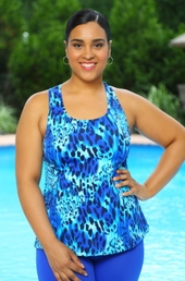 Women's Plus Size Swimwear - Always For Me Sport - Animal Print Princess Seam Racer Back Top