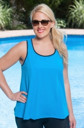 Always For Me Sport Crew Neck Color Block Plus Size Swim Top