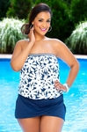 Women's Plus Size Swimwear - Anne Cole Separates Daisy Blouson Bandeau Tankini Top