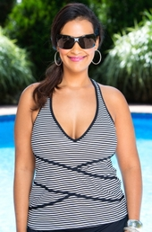 Women's Plus Size Swimwear - Anne Cole Separates Mini Stripe Racerback Tankini Top