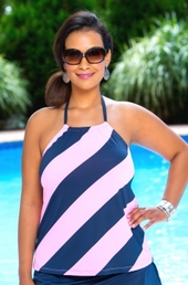 Women's Plus Size Swimwear - Anne Cole Separates Rugby Stripe Tankini Top - NO RETURNS