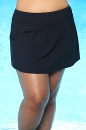 Women's Plus Size Swimwear - Beach House Separates Skort w/ Pocket #42058 - Black $45.75