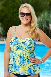Women's Plus Size Swimwear - Beach House Separates St Augustine Floral Bandeau Tankini Top