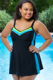 Women's Plus Size Swimwear - Delta Burke Color Block Swimsuit