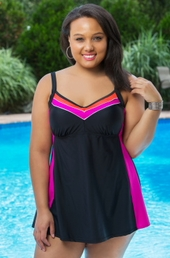 Women's Plus Size Swimwear - Delta Burke Color Block Swimdress #848 - Pink $81.75