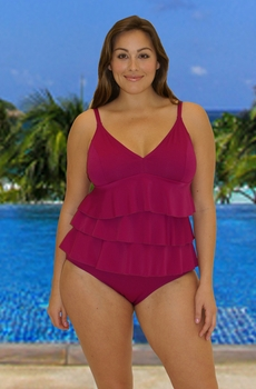 Women's Plus Size Swimwear - Fit 4 U Swim Diva Texture 3 Tier V Neck Tankini - NO RETURNS