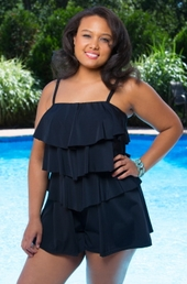 Women's Plus Size Swimwear - Fit 4U V Tiered Romper