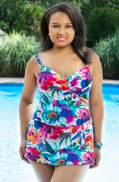 Women's Plus Size Swimwear - It Figures Daydream Floral Underwire Surplice Swimdress