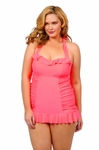 Women's Plus Size Swimwear - Jessica Simpson Sea Glass Halter 1pc Swimdress #SG149801
