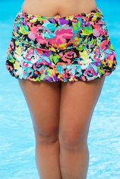 Women's Plus Size Swimwear - Kenneth Cole Reaction Separates In Full Bloom Rouched Skirted Brief - NO RETURNS