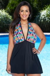 Women's Plus Size Swimwear - Longitude Step It Up Halter Swimdress #22284