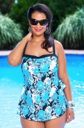 Women's Plus Size Swimwear - Maxine Fine Romance Bandeau Sarong 1 Pc  Swimsuit #4GJ31 - Aqua ON SALE $34.50